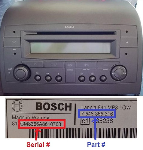 Lancia Bosch Ypsilon CD radio code