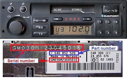 OPEL Blaupunkt SC202D radio code