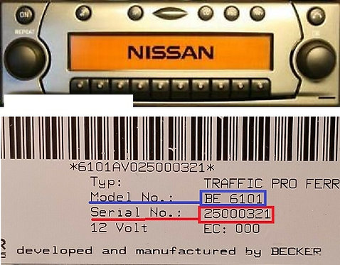 Nissan becker Traffic pro BE4739 BE4757 radio code