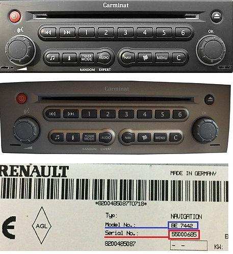 Renault becker carminat navigation radio code