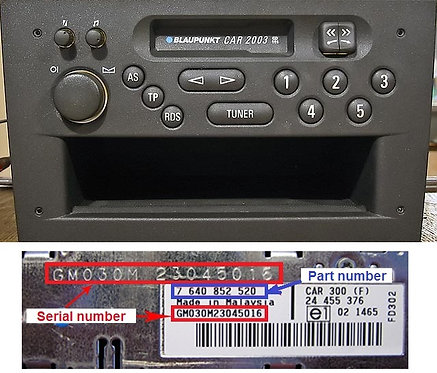 OPEL Blaupunkt Car2003radio code
