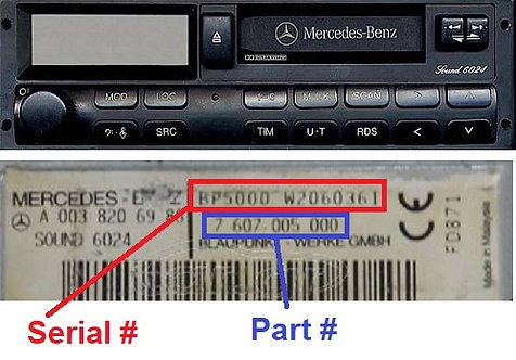 MERCEDESBlaupunkt SOUND 6024 24vradio code