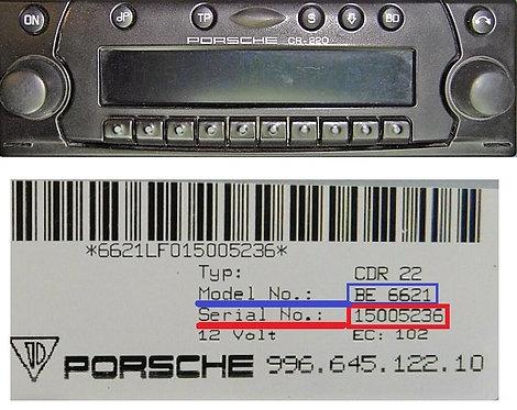 Porsche becker cr220 BE4362 BE6624 radio code