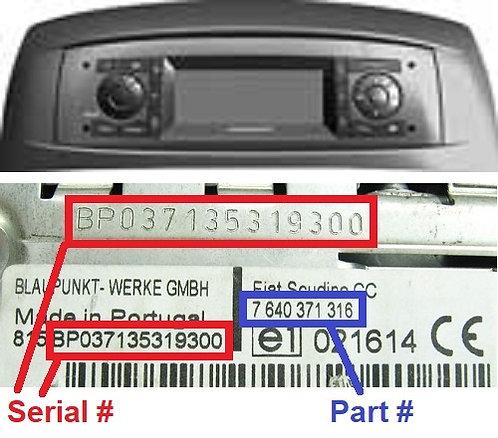 FIAT PUNTO 188 CONNECTradio code