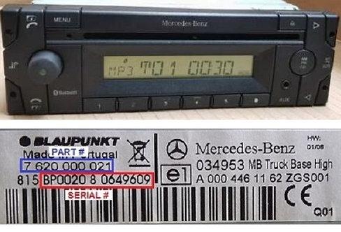 MERCEDESBlaupunkt Truck Adv. Lowradio code