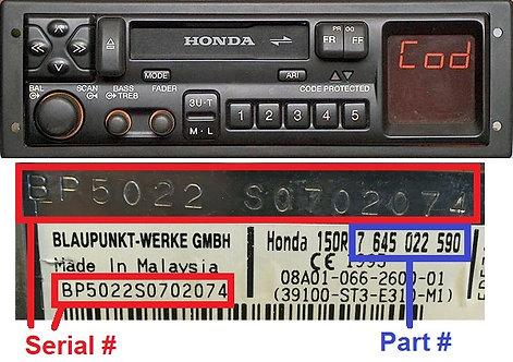 copy of HONDA SN7 B radio code
