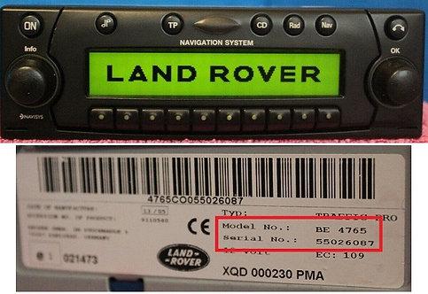 Land Rover Becker BE4765 / BE4775 radio code