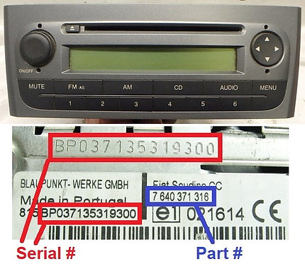 FIAT 323 MY08 199 CD radio code