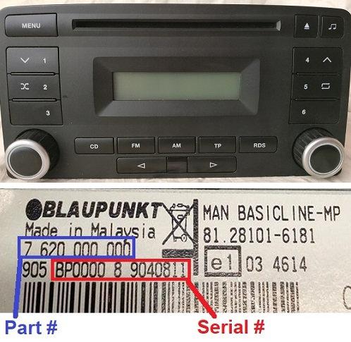 MAN Blaupunkt BASICLINE MP48radio code