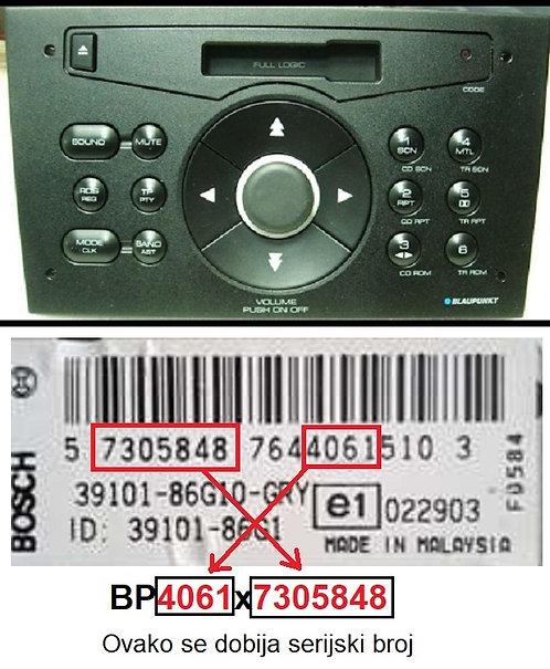 SUZUKIBlaupunkt Radio Cassetteradio code