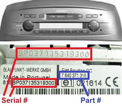 FIAT PUNTO 188 CCradio code
