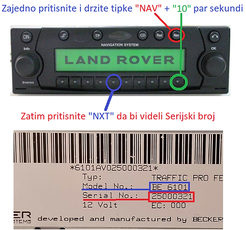 Land rover becker Traffic Pro BE4765 BE4775 radio code
