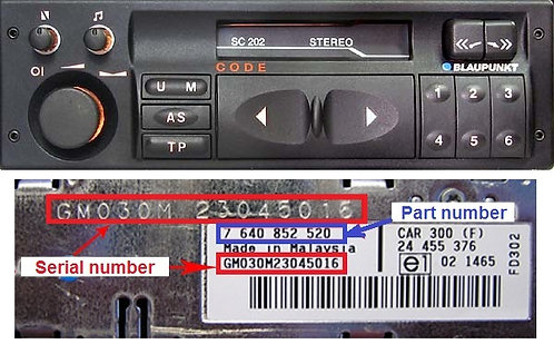 OPEL Blaupunkt SC202radio code