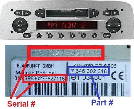 Alfa 156 Blaupunkt 932 CC radio code
