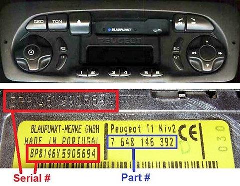 PEUGEOT Blaupunkt T1 LOWradio code