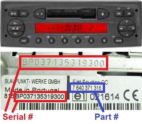 FIAT PANDA169 CCradio code