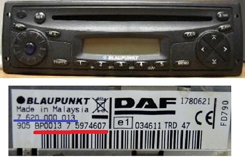 DAF Blaupunkt trd47radio code