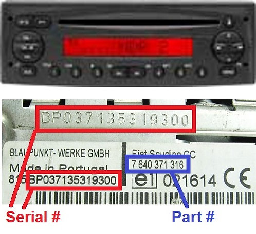 FIAT DUCATO 223 244 250 CD radio code