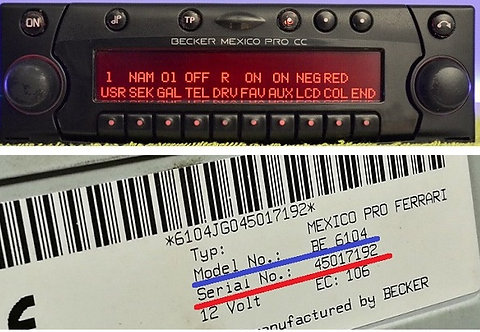 Mexico becker Pro CC  BE4370 BE6104 radio code