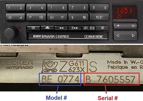 BMW becker Bavaria c business  BE0774 radio code