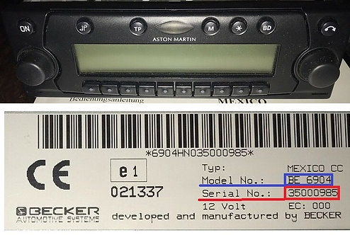 Aston Martin becker Mexico BE6904 BE6905 radio code