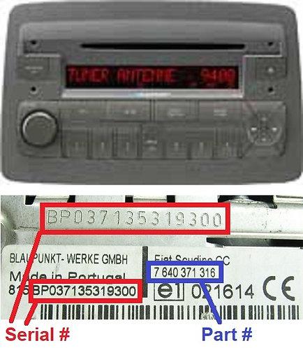 FIAT PANDA169 CDradio code