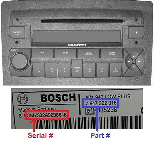 Fiat Bosch Idea 350 Mp3 radio code