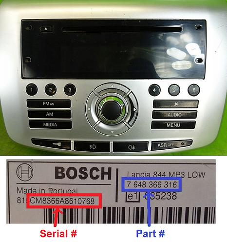 Lancia Bosch Delta 844 radio code