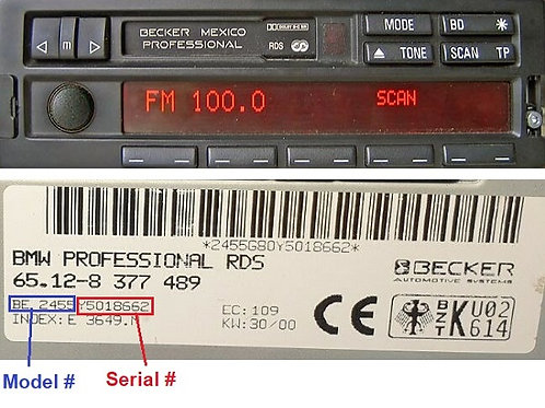Bmw becker Mexico professional BE2420 BE2430 radio code
