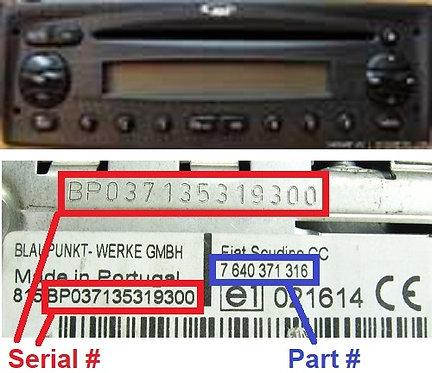 FIAT Blaupunkt DOBLO SCUDINO 223 MP3 SB05radio code