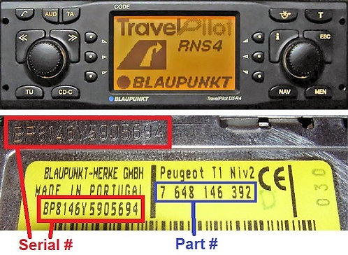 PEUGEOT Blaupunkt RNSradio code