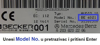 Unesi Model no. u pretrazivac i enter.jp