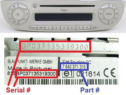 FIAT 500 312 Japan Ivory MP3 SB05 radio code