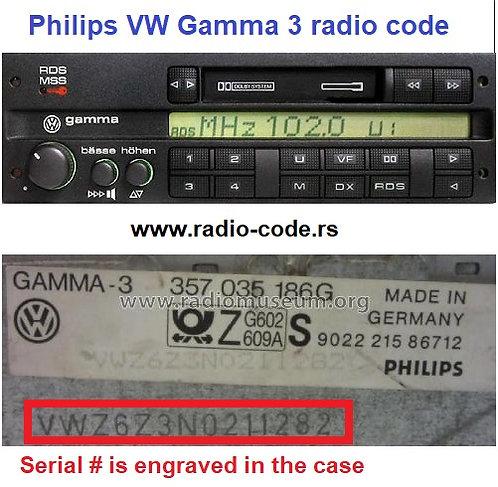 VW Gamma 3 radio code