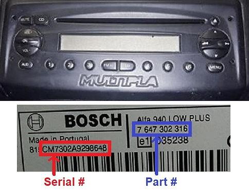 Fiat Bosch Multipla 186 radio code