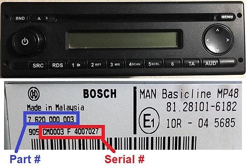 Man Bosch MP48 radio code