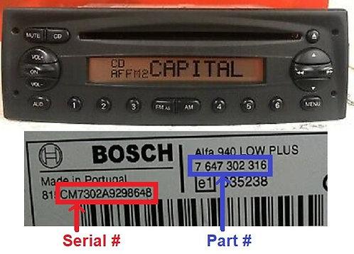 Fiat Bosch Doblo Scudino 223 Mp3 radio code