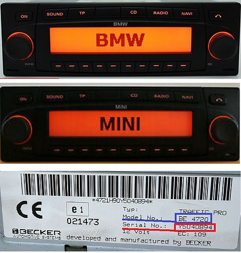 Bmw becker Indianapolis BE7968 BE7969 radio code