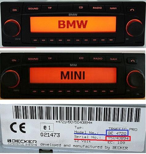 Bmw beckerIndianapolis BE7968 BE7969 radio code