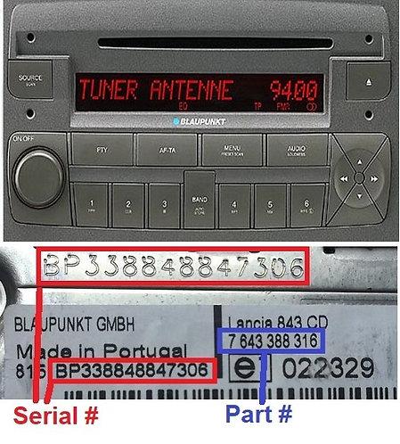 LANCIA Blaupunkt MUSA 848 C1V2 MP3 Greyradio code