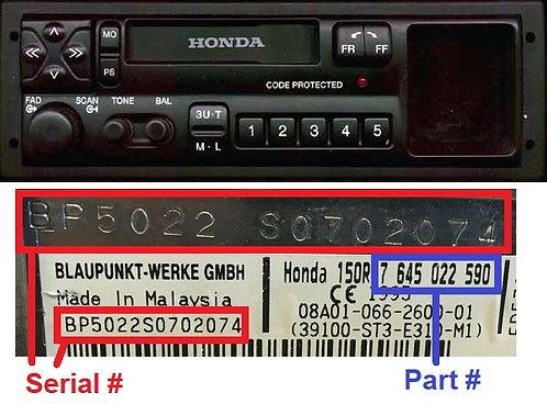 HONDA SN7 A radio code