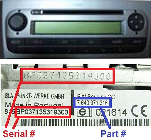 FIAT PUNTO 199 MP3 SB05 SMALL radio code