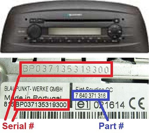 FIAT PUNTO 188 CD radio code