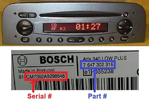 Alfa Bosch 937 947 radio code