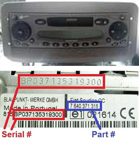 FIAT Multipla186 CCradio code