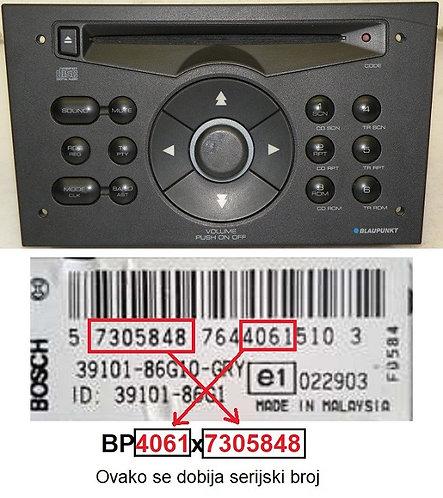 SUZUKIBlaupunkt Radio CDradio code