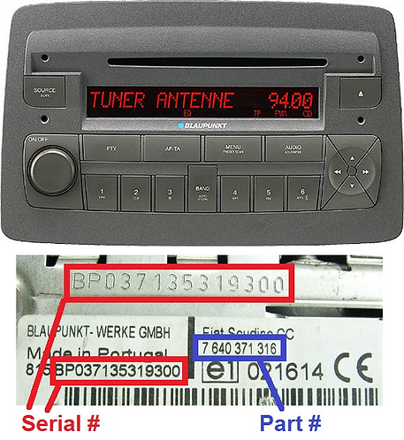 FIAT CROMA194 CD MP3 SB05 radio code
