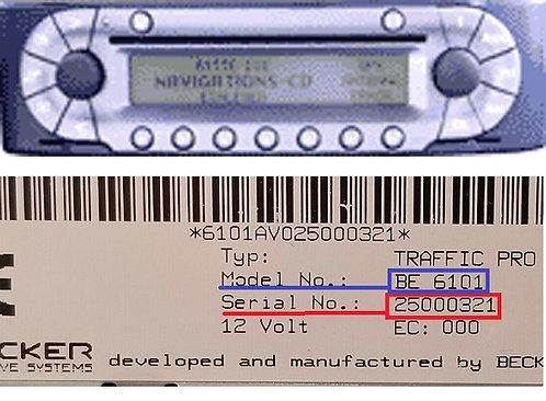 Smart becker Navigation Sound BE4708 BE6040 BE7033 radio code
