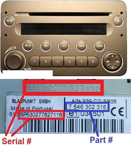 ALFA 159 939 cd sb05radio code