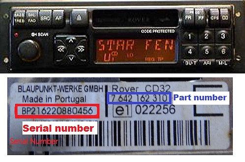 ROVER Blaupunktradio code